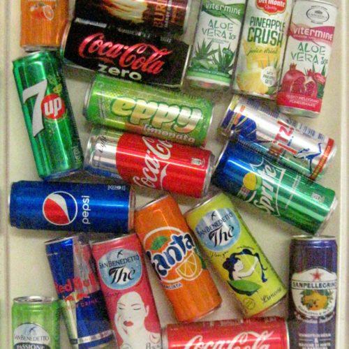 BIBITE CON RESINA SALVATE PER L ANNO 6.000 cm60x40 anno 2018 Coca Cola in verticale, Fanta,San Bendetto pesca non esistono più come queste